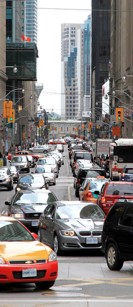 A view of traffic conditions in Downtown Toronto